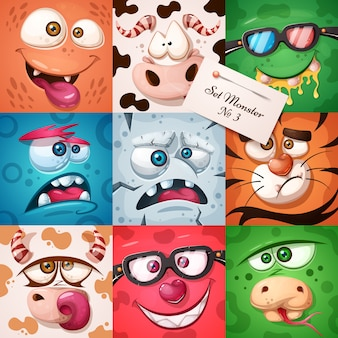 Set 9 gegenstände - lustiger, süßer monstercharakter. halloween-abbildung