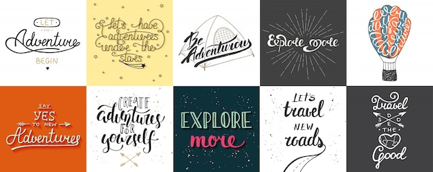 Set abenteuer- und reiseplakate