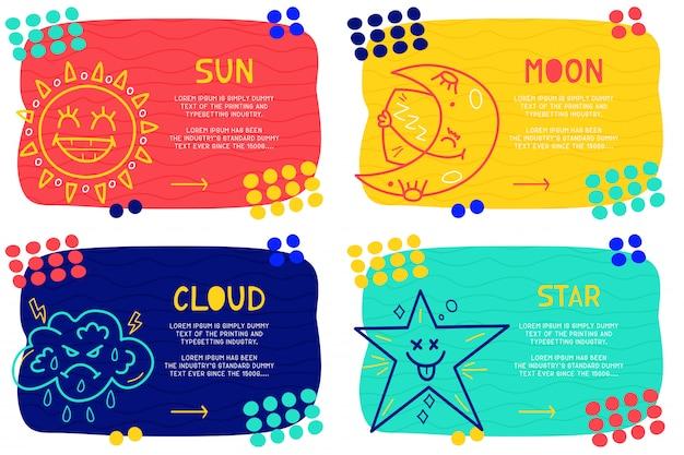 Set abstract landing page pattern mit verschiedenen elementen