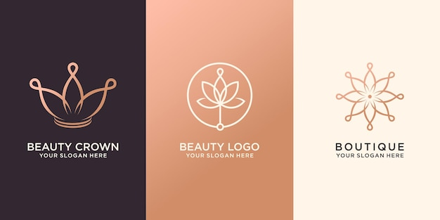 Set abstrakte blume und krone, logo premium-vektor