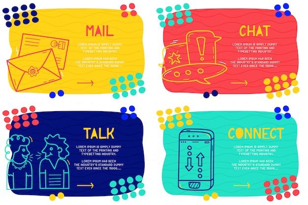 Set abstrakte doodle-mail