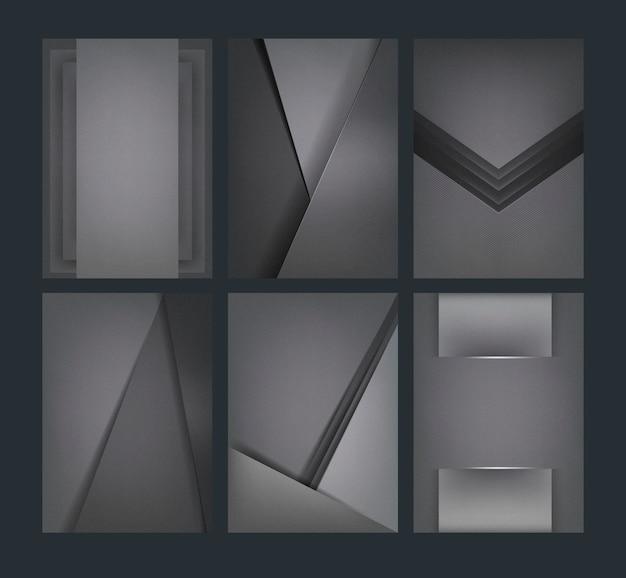 Set abstrakte hintergrunddesigne in dunkelgrauem