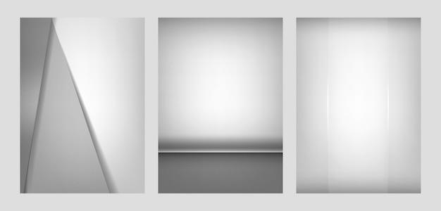 Set abstrakte hintergrunddesigne in hellgrauem