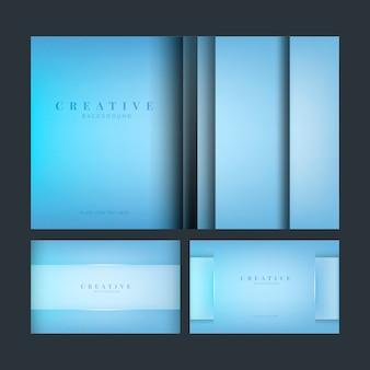 Set abstrakte kreative hintergrunddesigne im blau