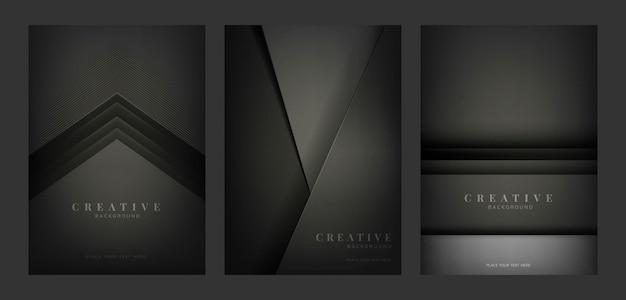Set abstrakte kreative hintergrunddesigne im schwarzen