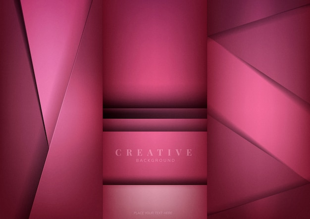 Set abstrakte kreative hintergrunddesigne im tiefrosa