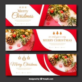 Set abstrakte Weihnachtsfahnen