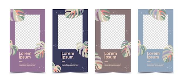 Set abstrakter designvorlagen für social-media-geschichten