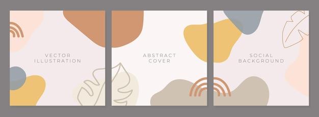 Set abstrakter kreativer universeller cover-designvorlagen