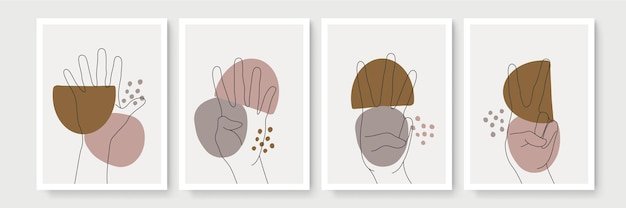 Set abstrakter poster im boho-stil mit handgeste
