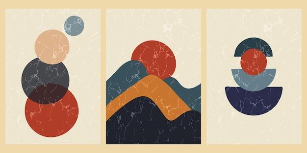 Set abstrakter zeitgenössischer poster aus der mitte des jahrhunderts mit geometrischen formen und textur. design für tapete, hintergrund, wanddekoration, cover, druck, karte. moderne minimalistische boho-kunst. vektor-illustration.