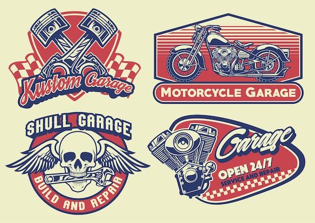 Set abzeichen design vintage motorrad Premium Vektoren