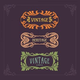 Set abzeichen jugendstil vintage