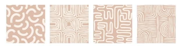 Set aesthetic contemporary druckbares nahtloses muster mit abstrakten minimalformen und linien in nude