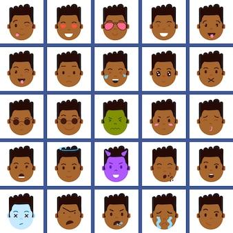 Set afrikanische junge kopf emoji persönlichkeit symbol mit gesichts-emotionen, avatar-charakter, gesicht mit verschiedenen männlichen emotionen konzept