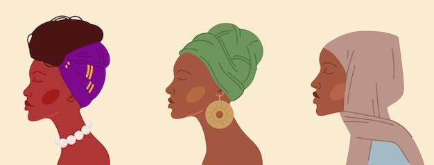 Set afrikanischer frauen in verschiedenen traditionellen kopftüchern und accessoires auf beigem hintergrund