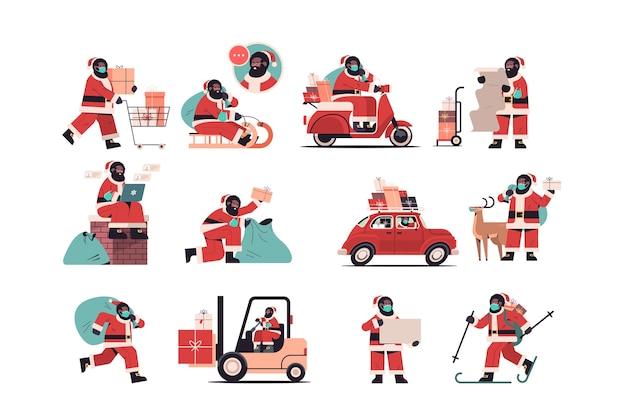 Set afroamerikaner santa claus liefert geschenke frohe weihnachten frohes neues jahr feiertagsfeier konzept horizontale vektor-illustration in voller länge