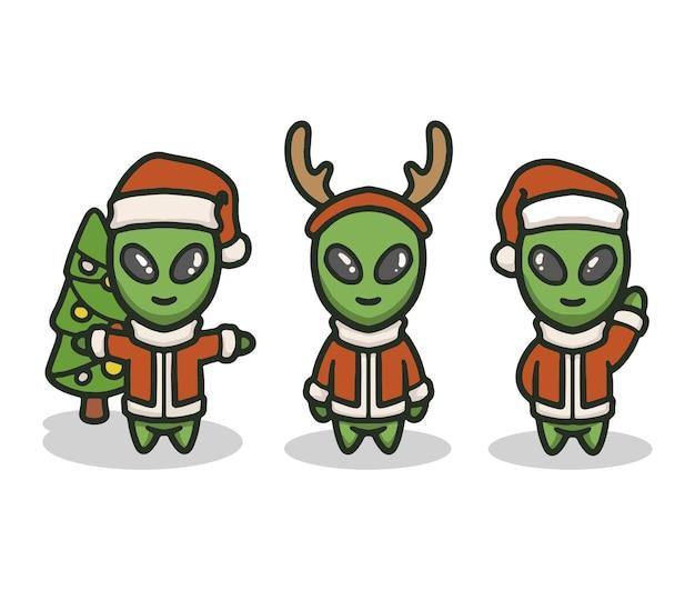 Set alien mit weihnachtskostüm