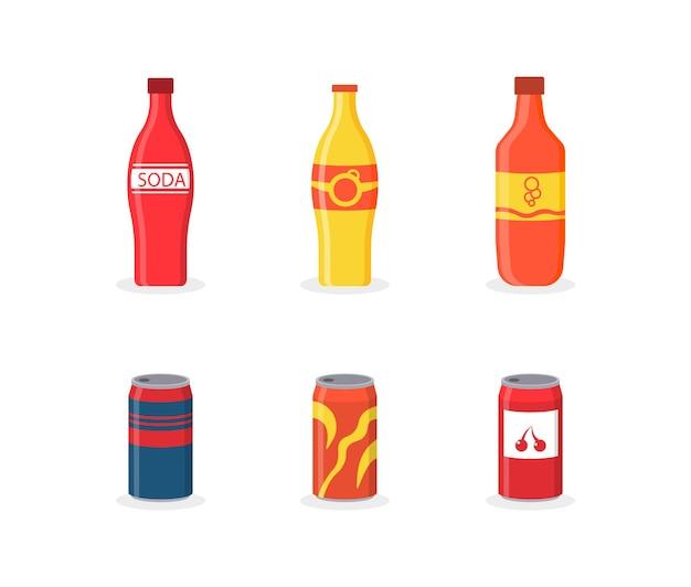 Set alkoholfreie getränke in kunststoff- und aluminiumverpackung