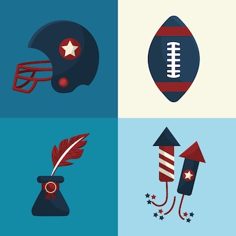 Set amerikanische Tradition Elemente Symbole
