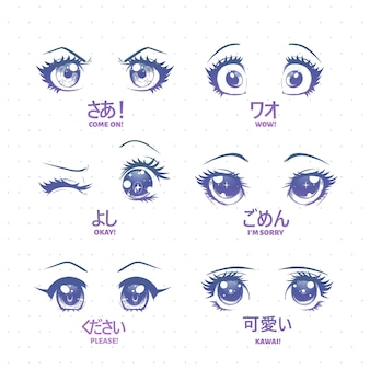 Set anime, manga kawaii augen, mit verschiedenen ausdrücken.