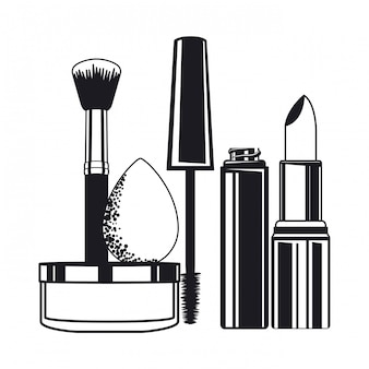 Set applikatoren bilden pinsel und kosmetik