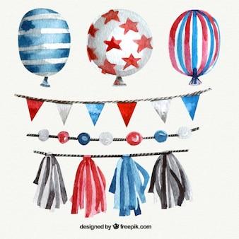 Set aquarell ballons und ammern