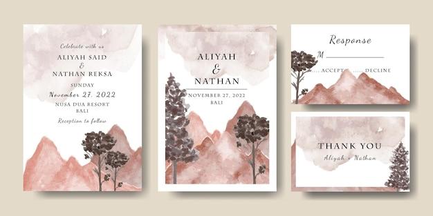 Set aquarell bergbäume hochzeitseinladungskartenvorlage