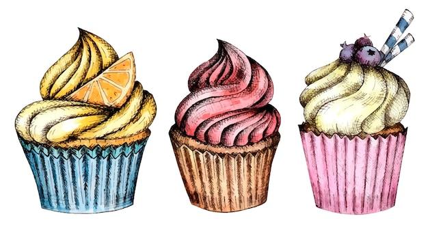 Set aquarell cupcakes clipart