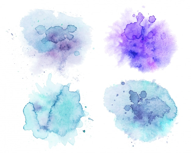 Set aquarell flecken, abstrakte aquarell