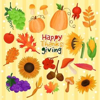Set aquarell gemalt thanksgiving-dekoration festliche cliparts hand gezeichnet