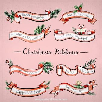 Set aquarell vintage weihnachten bänder