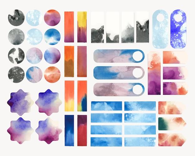 Set aquarellhintergrundvektor