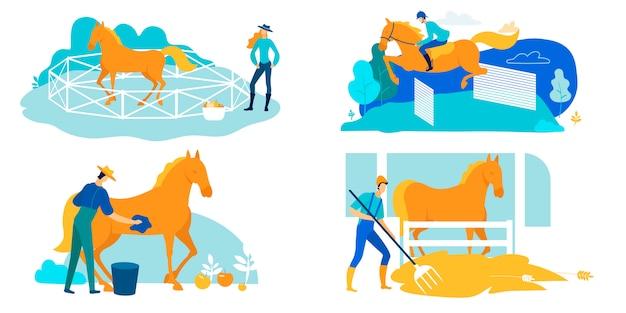 Set arbeit auf horse farm, pflege und training cartoon.