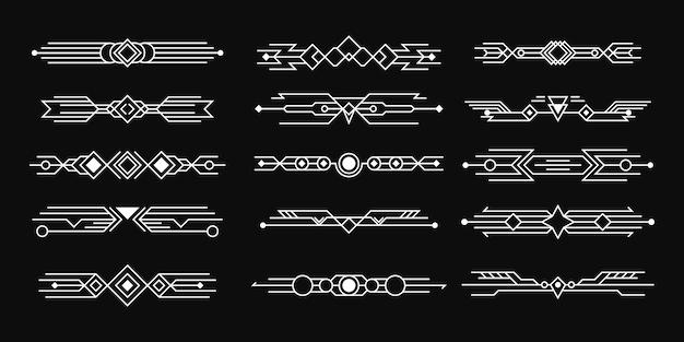 Set art deco. abstrakte kompositionen und trennwände im stil von gemälden.
