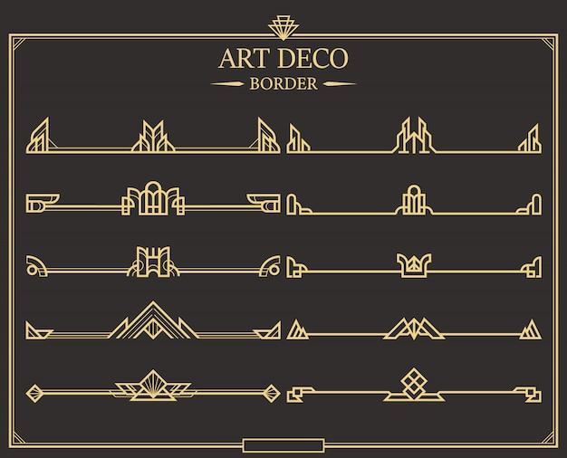 Set art deco gold kalligraphische seitenteiler.