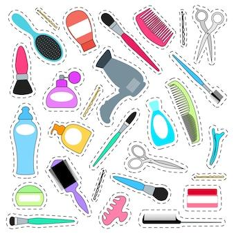 Set aufkleber für den schönheitssalon. symbole für haarschnitte und styling.