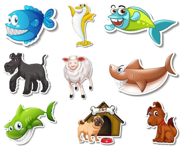Set aufkleber mit meerestieren und hunden-cartoon-charakter