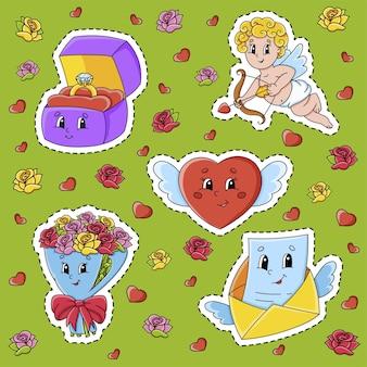 Set aufkleber mit niedlichen zeichentrickfiguren valentinstag clipart