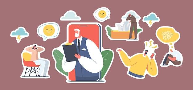 Set aufkleber psychotherapie helpline, online-beratung. depressive charaktere und arztpsychologe auf dem handy-bildschirm, entfernter termin, hilfe. cartoon-leute-vektor-illustration, icons