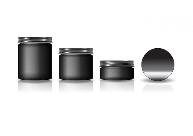 Set aus 3 runden schwarzen kosmetikgläsern mit schwarzem deckel für schönheit oder gesundes produkt.