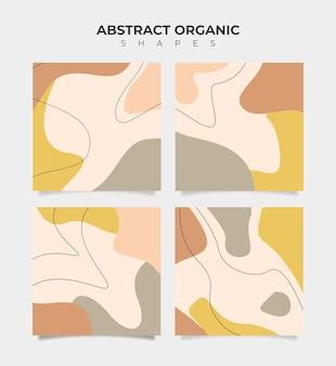Set aus 4 abstrakten bannern in organischer form in pastellfarben