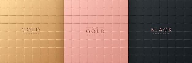 Set aus abstraktem 3d-luxus-gradienten-goldenem rosagold und nahtlosem hintergrund mit schwarzem quadrat-muster