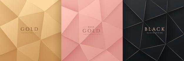 Set aus abstraktem 3d-luxus-gradienten goldenem roségold und schwarzem, niedrigem polygonalem, modernem design