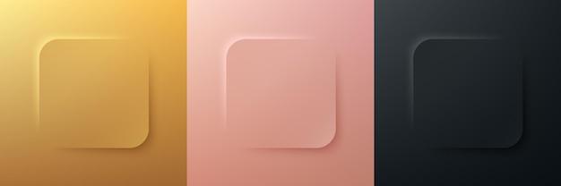 Set aus abstraktem 3d-luxusgold-roségold und schwarzem quadratischem rahmendesign mit runder ecke corner