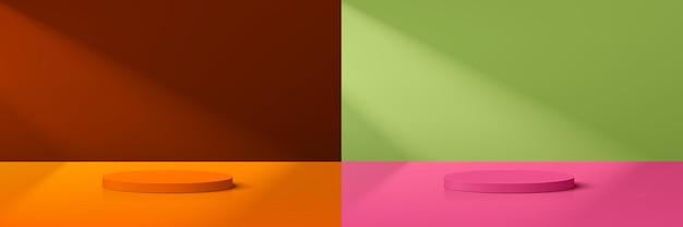 Set aus abstraktem 3d-zylinderpodest in trendiger farbe für die präsentation von produktdisplays