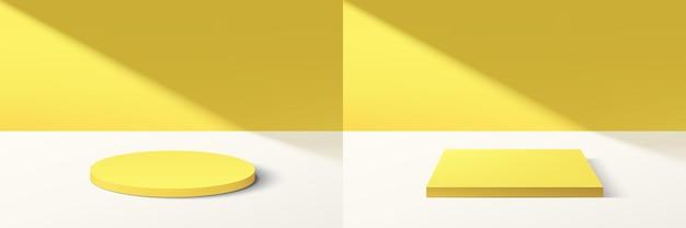 Set aus abstraktem gelbem 3d-zylinder und würfelpodest mit leuchtend gelber minimaler wandszene im schatten. sammlung von geometrischen vektor-rendering-plattformen für die präsentation von kosmetikprodukten