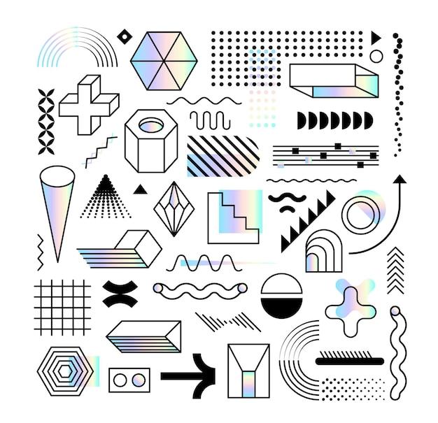Set aus abstrakten trendigen designelementen und formen mit dispersionseffekt