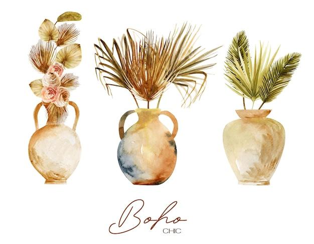 Set aus antiken aquarellvasen und keramik mit getrockneten fächerpalmenblättern und blumen