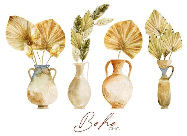 Set aus antiken aquarellvasen und keramik mit getrockneten fächerpalmenblättern